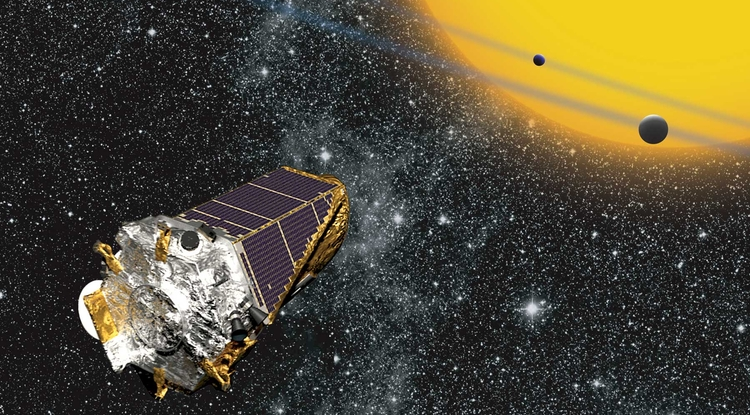 Artist's concept of Kepler space telescope observing exoplanets, via NASA.
