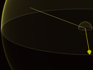 Schematic portraying a light-year: A large yellow shell outside smaller shell with arrows point from center to each.