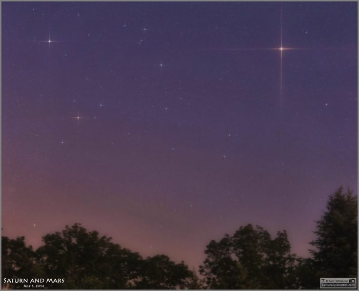 Here's a shot of the Mars-Saturn-Antares triangle on July 6, 2016. The bright one in this photo is Mars, and the 2 fainter objects are Saturn (above) and Antares (below). Photo by our friend Tom Wildoner at LeisurelyScientist.com.