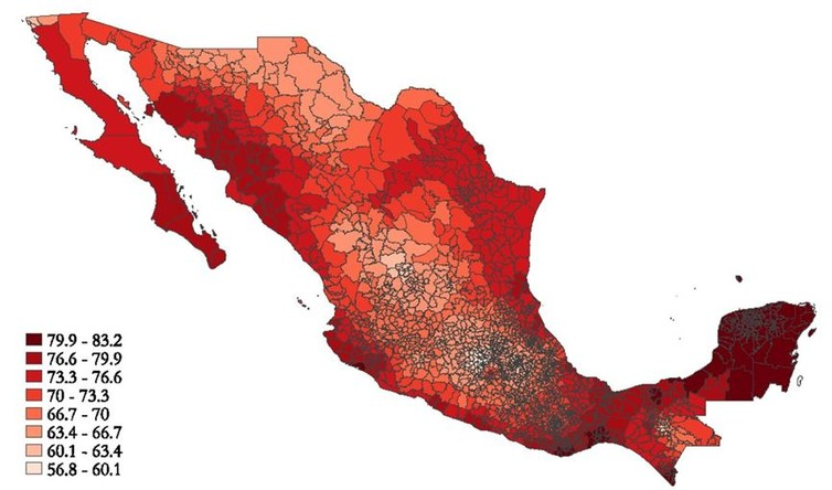 Graphic shows the range of average temperatures in Fahrenheit in different parts of Mexico. Image via Davis and Gertler, PNAS, 2015. Copyright 2015 National Academy of Sciences, USA.