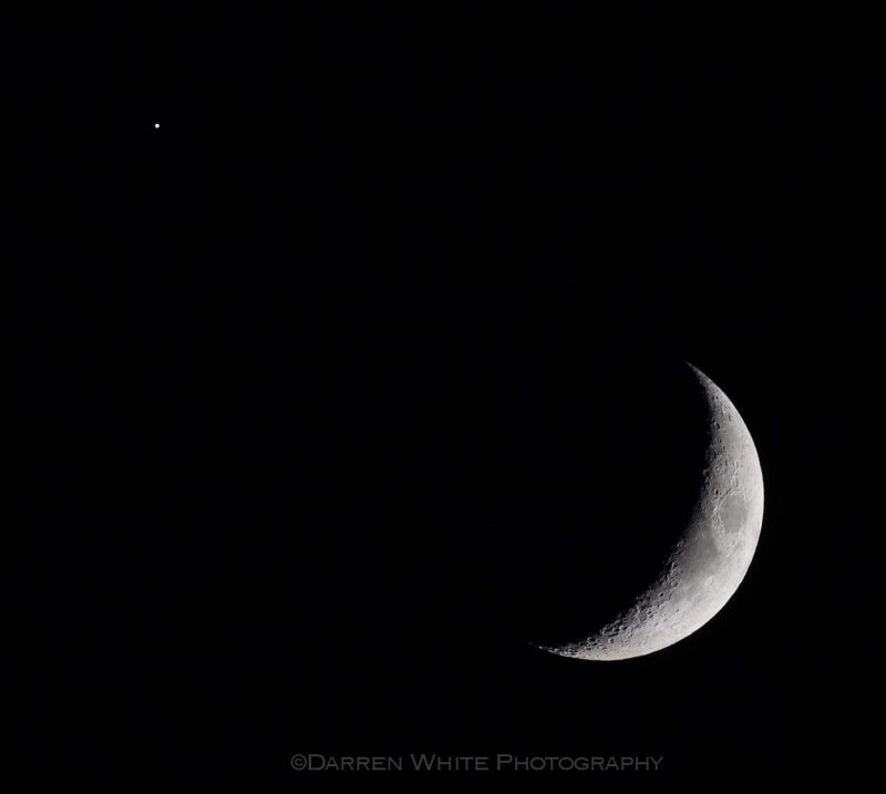 Moon and Jupiter via our friend Darren White Photography in Littleton Colorado.