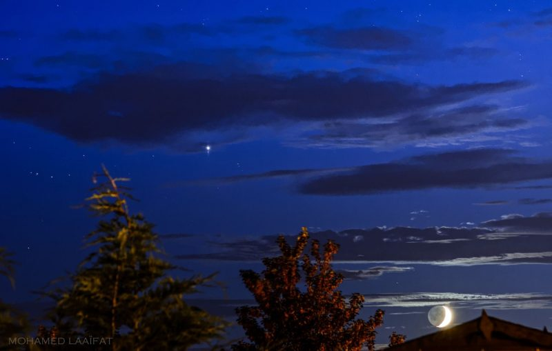 Moon and Jupiter on July 8 from our friend Mohamed Laaifat Photographies in Normandy, France.