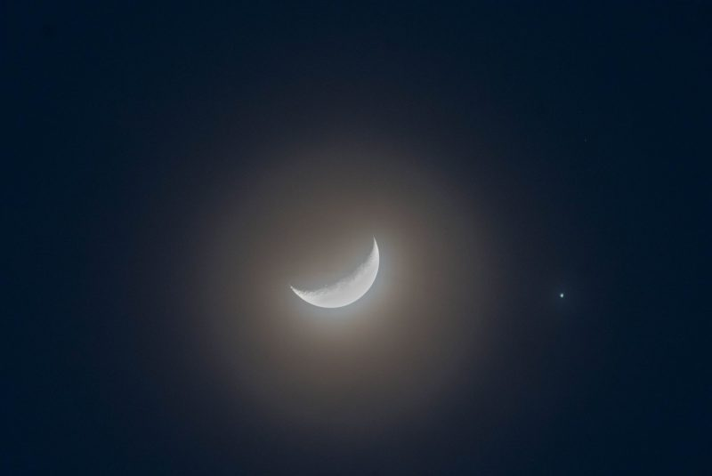 The moon and Jupiter were less than one degree apart - about 2 moon-diameters apart - as seen from Malaysia. Photo via our friend Azya Matsumoto.