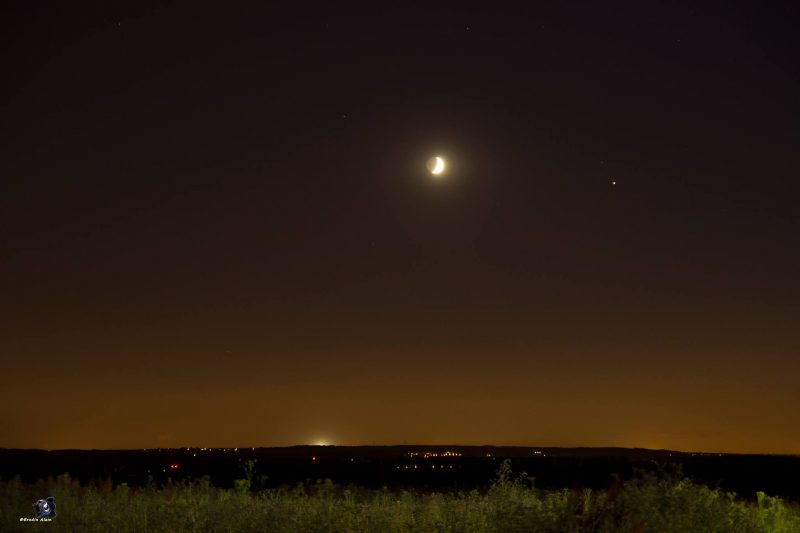 Moon and Jupiter on July 9, 2016 from Brodin Alain, outside Paris, France. He wrote: