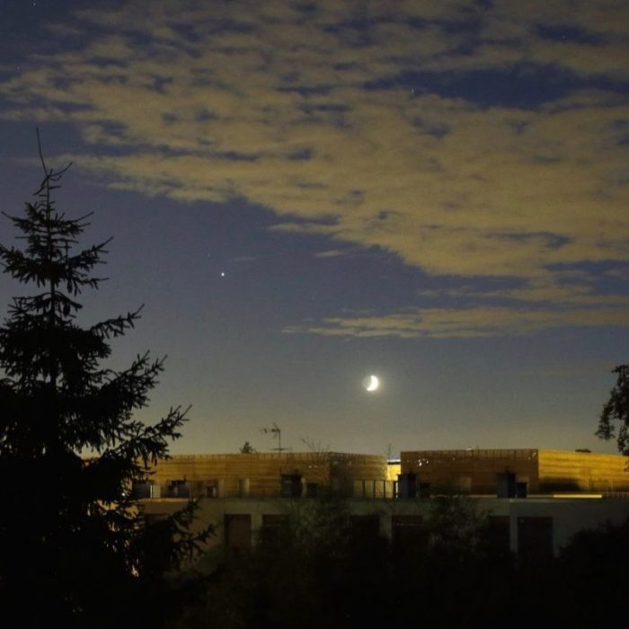 Moon and Jupiter on July 8, 2016 by our friend Patrick Casaert in Meaux, France.  He runs the page La Lune The Moon on Facebook.