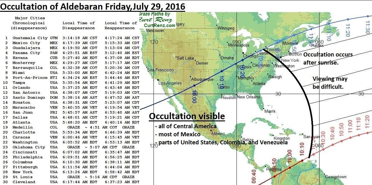Occultation of Aldebaran on Friday, July 29, 2016. Chart by Curt Renz, shared by Stephen Aman at EarthSky Facebook.