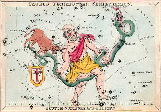 Ophiuchus in Urania's Mirror, a boxed set of 32 constellation cards first published in 1824. Image via www.ianridpath.com.