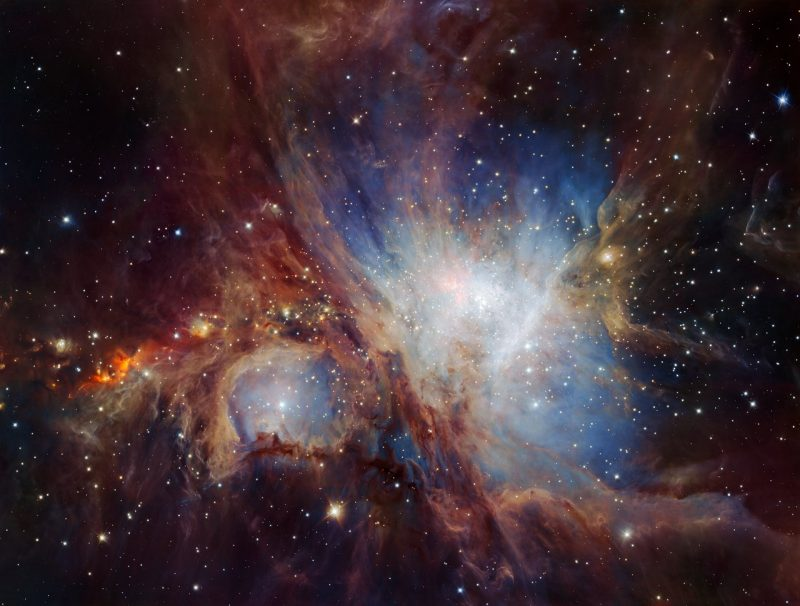 This spectacular image of the Orion Nebula star-formation region was obtained from multiple exposures using the HAWK-I infrared camera on ESO's Very Large Telescope in Chile. This is the deepest view ever of this region and reveals more very faint planetary-mass objects than expected. Image via ESO/H. Drass et al.