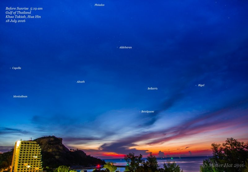 Constellation Orion the Hunter - and constellation Taurus, with bright star Aldebaran - before dawn on July 18, 2016 as seen in Hua Hin, Thailand. Photo by Vince Babkirk, aka Mister Hat.
