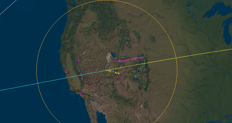 Path of reentry of Chinese satellite on July 27, 2016 as described by Aerospace.org.