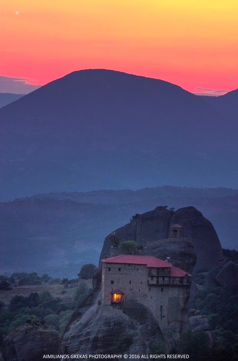 Aimilianos Gkekas caught Venus on July 26, 2016 over one of the Meteora-monesteries in Kalampaka, Greece.