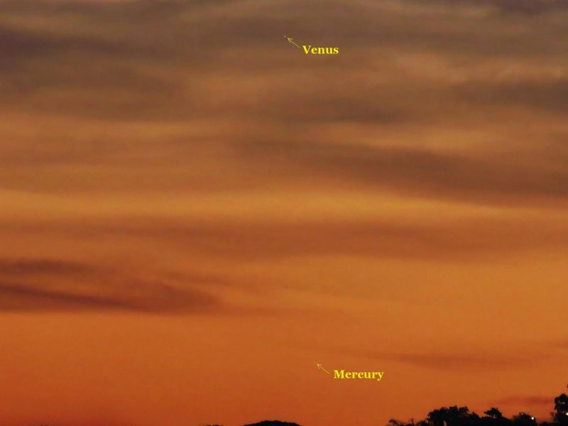 As seen from Earth's Southern Hemisphere now, Venus and Mercury make a more perpendicular angle with respect to the sunset, and Venus, at least, is easier to spot. Hello C. Vital in Rio de Janeiro, Brazil caught the pair on July 14. He wrote: