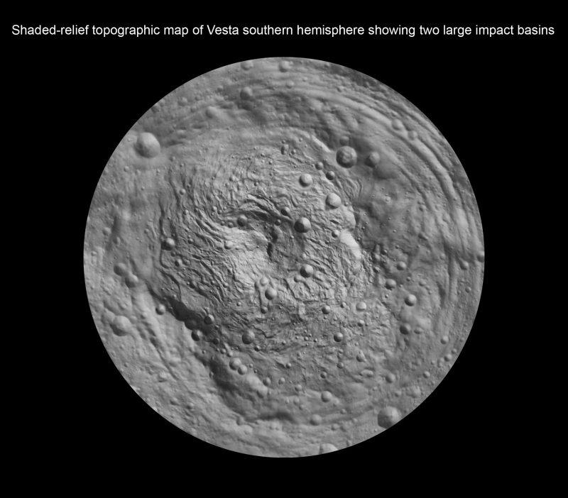 Shaded-relief topographic map of Vesta's southern hemisphere, showing Rheasilvia and Veneneia. Image via NASA