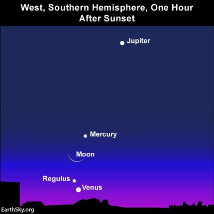 The view of the western sky as seen from Cape Town, South Africa, after sunset on August 4, 2016. You might even be able to see the star Regulus near the planet Venus from the Southern Hemisphere.