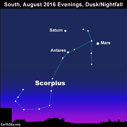 From mid-northern latitudes, look in your southern sky as darkness falls for the planets Mars and Saturn plus the star Antares, the brightest star in the constellation Scorpius the Scorpion.
