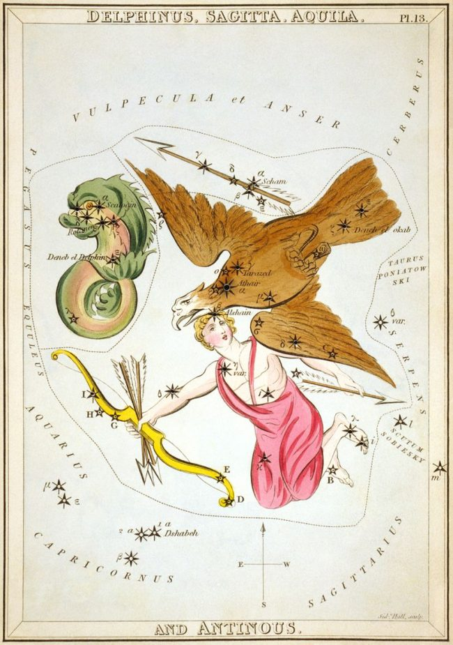 Antique colored etching of a flying eagle and other figures scattered with stars.