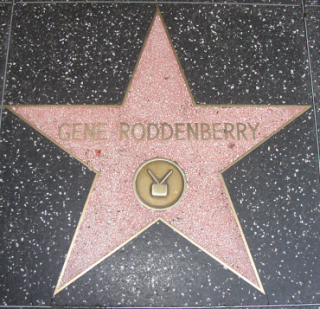 Roddenberry's star on the Hollywood Walk of Fame, via Wikimedia Commons.