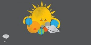 Cartoon: Sun hugging planets, Pluto to one side saying 'I miss you guys'.