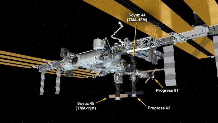 Here's ISS on February 19, 2016, at a time when 4 spacecraft are docked with the space station. Image via NASA.