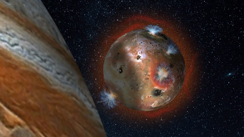 "For two hours of Io's day (1.7 Earth days), it is eclipsed by Jupiter. The temperature drop freezes sulfur dioxide (SO2) gas, causing the atmosphere to ""deflate."" Image via Southwest Research Institute."