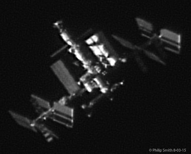 Composite image of ISS seen from Earth, by Philip Smith. Read more about this image at Spaceweather.com.