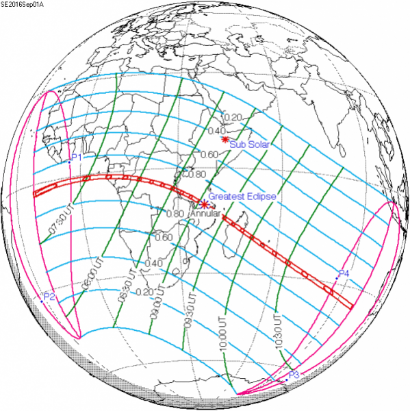 The thin red ribbon represents the path of the annular solar eclipse. It starts at sunrise in the Atlantic Ocean to to west (left) of Africa, and then goes eastward (from left to right) until the annular eclipse ends at sunset over the Indian Ocean some 3.6 hours later. A much larger swath of the world sees varying degrees of a partial solar eclipse.