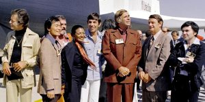 Third from right is Gene Roddenberry with the majority of the original 'Star Trek' cast in 1976 with the Space Shuttle Enterprise in the background. Credit: Wikimedia Commons