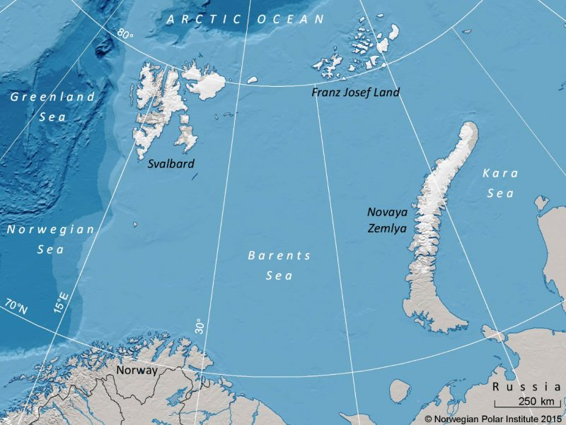The Barents Sea and surrounding land areas Image via Polar Research.
