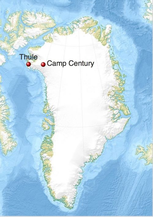 Camp Century in Greenland, via Wikimedia Commons.