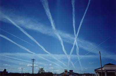 Multiple contrails in an area with high airline traffic, via NOAA.