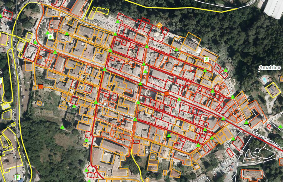 Amatrice as of 25 August: red shows destroyed buildings, orange highly damaged.
