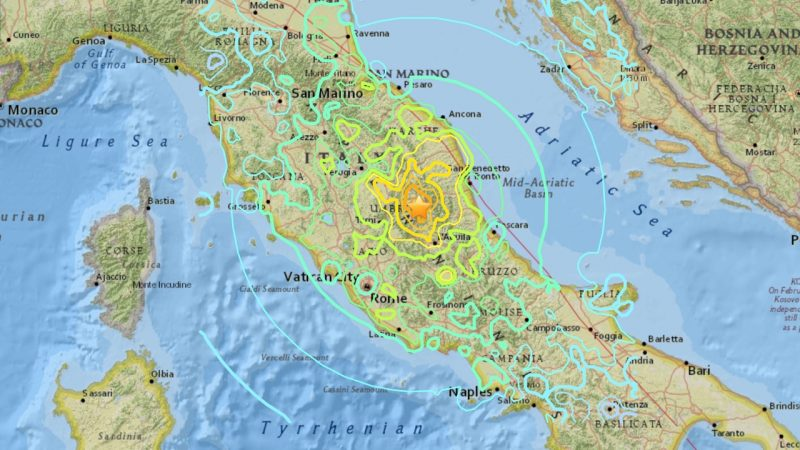 August 24, 2016 earthquake in Italy. Image via USGS.