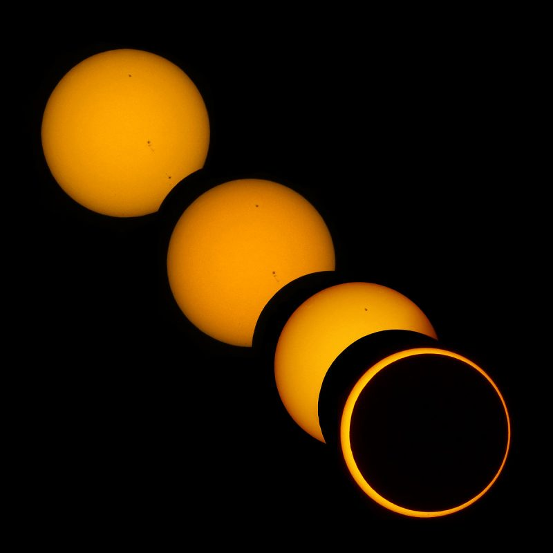 Three views of eclipsing sun, last a thin orange ring around black center.