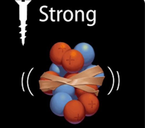 the strong force acts between quarks and between nucleons or, in general, between hadrons. It thus holds the atomic nucleus together. Image via hadron.physics.fsu.edu.