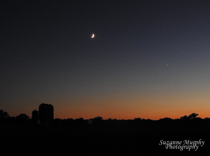 By the night of August 6, 2016, the moon appeared above Jupiter in the western twilight.  Photo by Suzanne Murphy in Wisconsin.