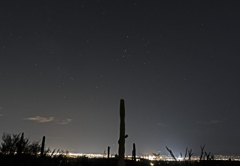 Mars, Saturn, and Antares aligned over Tucson, Arizona on August 23, 2016, by Eliot Herman.