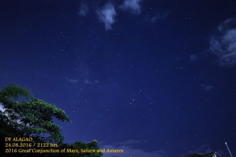 Mars, Saturn and Antares from Delfin Alagao in the Philippines.