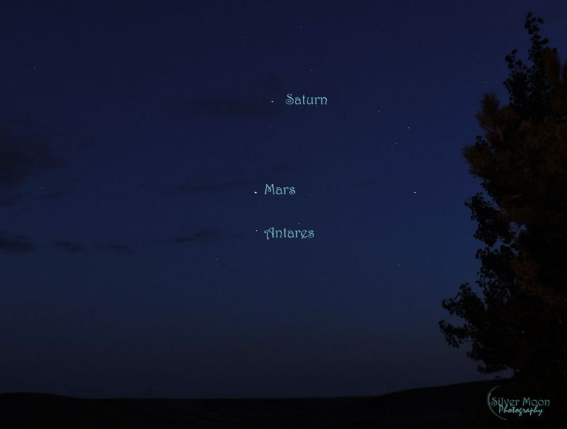 Mars, Saturn and Antares on August 24, 2016 from Katharina Rast.