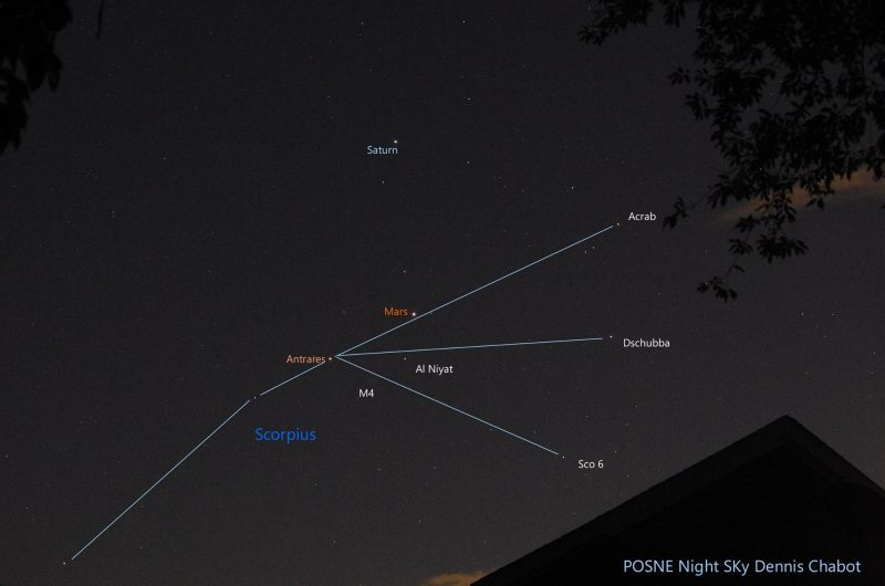 Dennis Chabot of Posne Night Sky Astrophotography captured Mars, Saturn and Antares on August 21, 2016. See how Mars has shifted, so that now the 3 objects nearly form a line? The line will be even straighter by August 23 and 24.