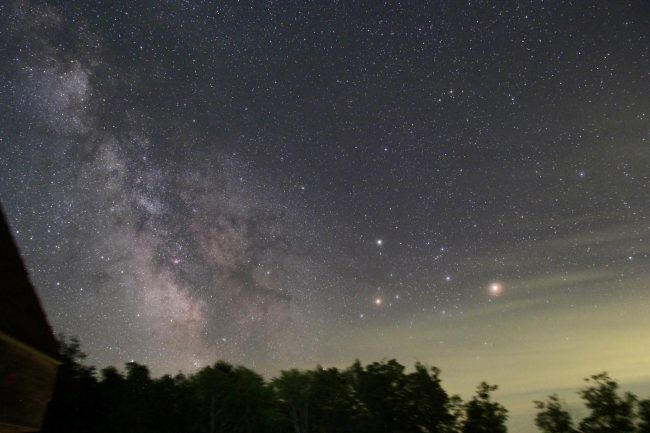 Mars (brightest), Saturn (above) and star Antares as captured in late July, 2016 by Steve Simmerman in Vermont.