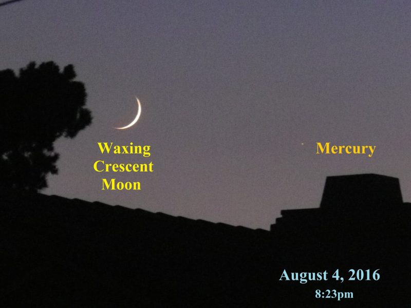 Matthew Kenslow caught the moon and Mercury over the rooftops on August 4.