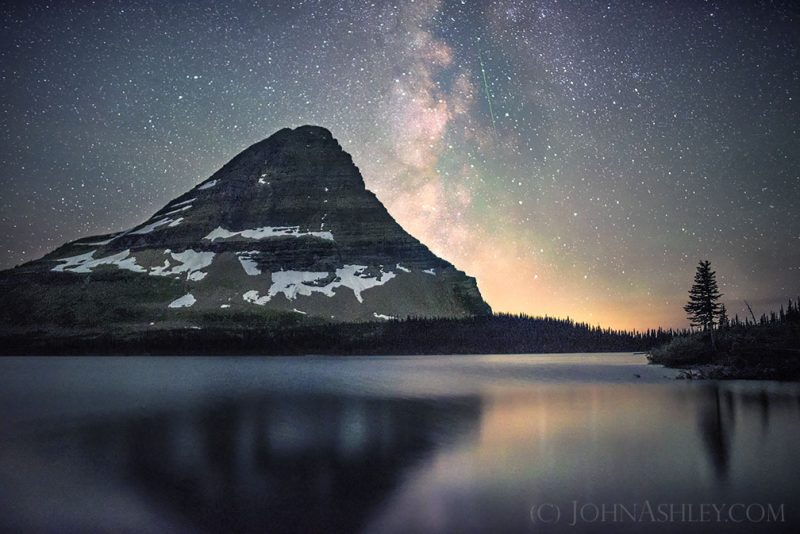John Ashley, who often shots in Glacier National Park in Montana, caught this meteor on July 31, 2016, over the park's Hidden Lake. Thank you, John. Visit John Ashley Fine Art.