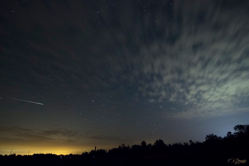 Fiona M. Donnelly caught this meteor on the morning of August 11 over Smith Falls, Ontario.