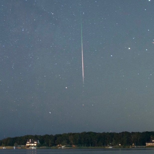 Meteor over East Moriches, Long Island, New York. Bobby D'Espsit Jr. took this photo on August 8, 2016