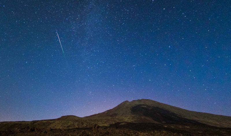 Perseid meteor over Pico Viejo volcano, on the island of Tenerife, Spain. Photo by Roberto Porto and Nahum Garcia.