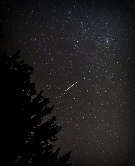 Charlie Winstead caught this meteor on August 8. He wrote: