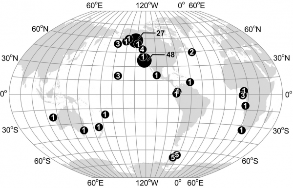 Locations and numbers of recorded interactions between humpback and killer whales described in Appendix S2 and summarized in Table 1; the number in each circle is the number of interactions from the general area. Graph via Robert L. Pitman.