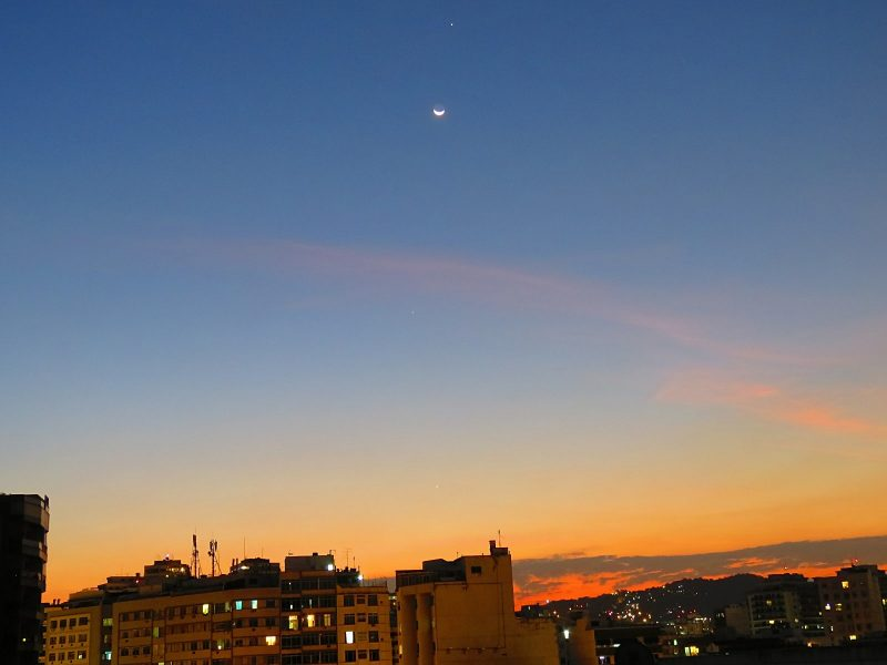 Helio C. Vital caught the moon and 3 planets - Jupiter (top), Mercury (middle) and Venus (bottom) from Rio de Janeiro, Brazil. He wrote: