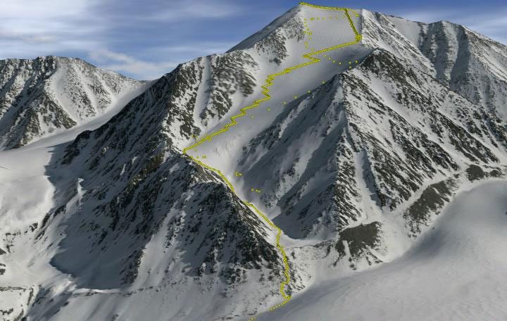 3-D visualization of Mt. Isto, the tallest mountain in the U.S. Arctic. Yellow dots represent data points collected by the expedition. Image is from The Cryosphere 10:1245-1257.