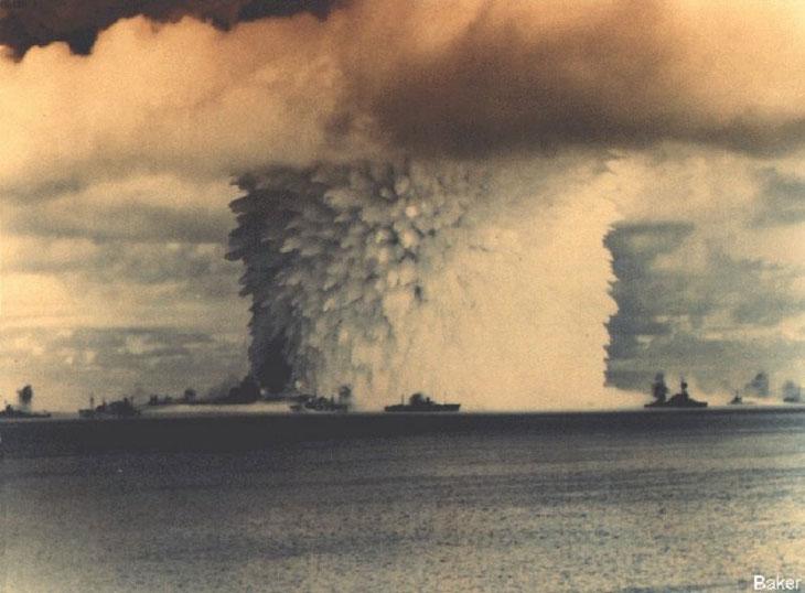Operation Crossroads, an early nuclear test at Bikini Atoll, 1946. Image via U.S. Department of Energy.